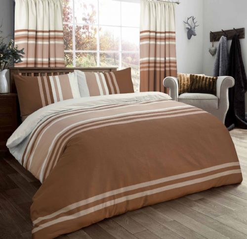 STRIPED 3 TONE STYLISH REVERSIBLE PRINT BEDDING DUVET COVER SET BROWN BEIGE CREAM